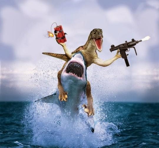 velociraptor-riding-a-shark